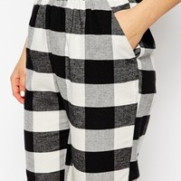 ASOS Fluffy Peg Trousers in Gingham Check