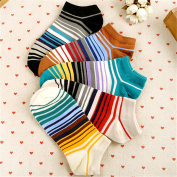 Womens Girls Cute Stripes Casual Sports Ankle Socks (5 PCS)