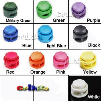 5pcs 11*17mm Pick Colors Paracord Cord Lock Clamp 2 Hole Toggle Clip Stopper Shoelace Cord Bag Parts Accessories#FLS012(Mix-s)