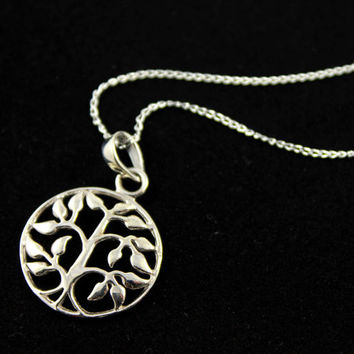 Tree of Life Necklace - Sterling Silver Circle Tree - Family Tree Necklace - Filigree Pendant