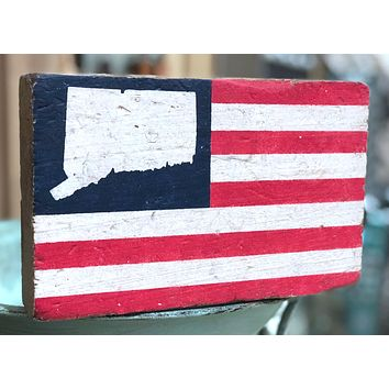 Handcrafted American Flag XL Wood Block With Connecticut State