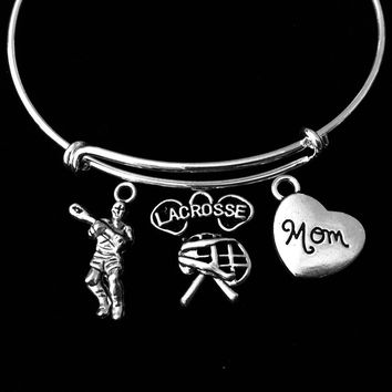 Lacrosse Mom Jewelry Adjustable Bracelet Silver Expandable Wire Bangle One Size Fits All Gift