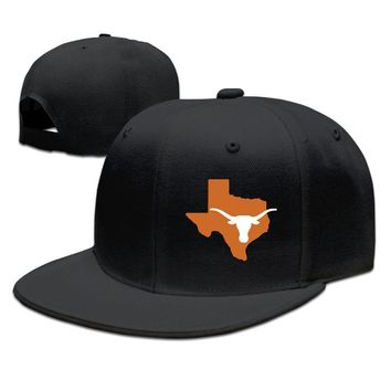 Texas Longhorns State Outline Cotton Unisex Adult Womens Hip-hop Hats Mens Baseball Hats
