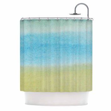 "Jennifer Rizzo ""Watercolor Paint Stripe"" Blue Tan Shower Curtain"