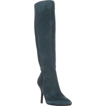 Nine West Fallon Knee-High Heeled Boots, Dark Green/Dark Green Suede, 9 US
