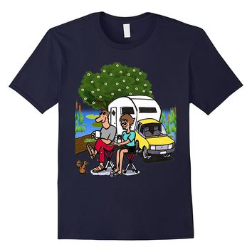 HAPPY COUPLE CAMPING GLAMPING FUN OUTDOOR GIFT T SHIRT
