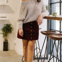 Kylie Burgundy Button Mini Skirt