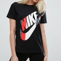 VONE05 Nike Womens Striped Logo T-Shirt
