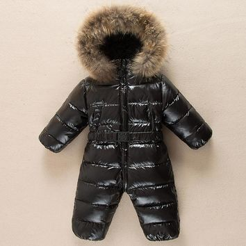 Warm Children winter Jumpsuit Duck down boys girls baby winter romper fur hooded boys romper overalls toddler kids baby snowsuit
