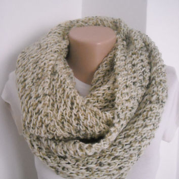 Free shipping chunky beige knit infinity scarf ,lace knit scarf , chunky knitted lace infinity scarf ,chunky knit snood , chunky knit cowl