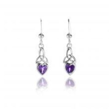 Amethyst Sterling Silver celtic knot earrings