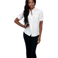 White Diamond Button Up Blouse
