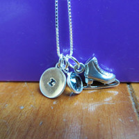 Personalized skating sterling silver necklace with hand stamped initial charm, ice skate and Swarovski crystal