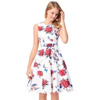 Rose Print Sleeveless Scoop Knee-length Dress