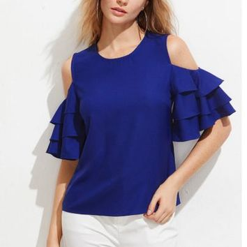 Open Shoulder Layered Bell Sleeve Top