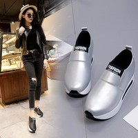 Women Casual Shoes Height Increasing Slip on Breathable Women Walking Flats Trainers Shoes Autumn Platform Dropshipping