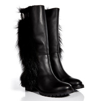 Fendi - Fur-Lined Leather Boots