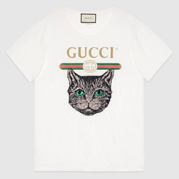 GUCCI printing cat trendy women's trendy blouse F