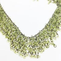 "Contemporary 16"" Adjustable Green Collar, Green Opalescent Wire Strung Dangle Bib Style Necklace"