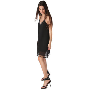 BLACK MIDI DRESS WITH V NECK AND CHAIN DETAIL