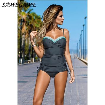 2019 Newest Push Up Sexy Tankini Plus Size One Piece Swimsuit Underwire Swimwear Women Summer Vintage Bathing Suits XXXL