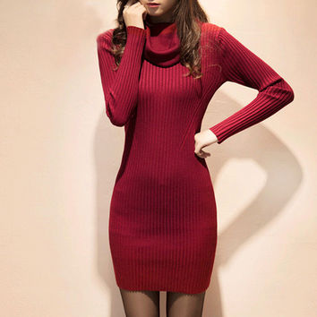 2016 Fall Fashion Women Knitted Sweater Dress Turtleneck Women Pullovers Vestidos Sexy Bodycon Dress Elastic Sweater Pull Femme
