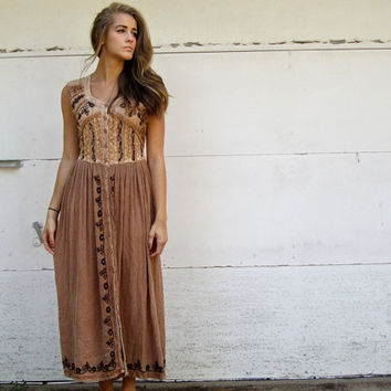 Bohemian Embroidered Vintage 90s Sundress Tan Rustic Boho Gypsy Hippie Dress