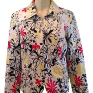vintage OSCAR de la RENTA pink red black yellow abstract floral white textured jacquard fabric pockets jacket women size 8