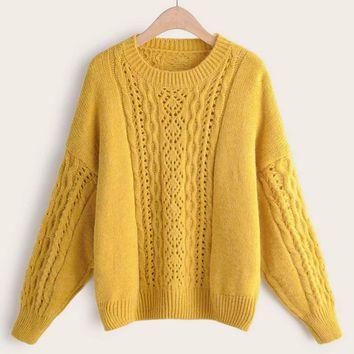 Solid Cable Knit Drop Shoulder Sweater