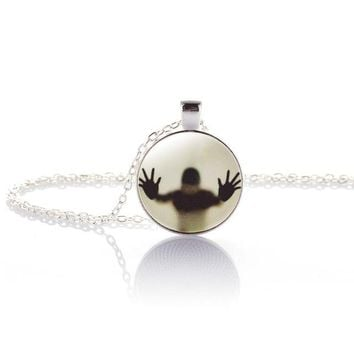 Design Men Shadow Style Necklace Glass Cabochon Chain Statement Pendant Necklaces Glow In The Dark Nightlight choker