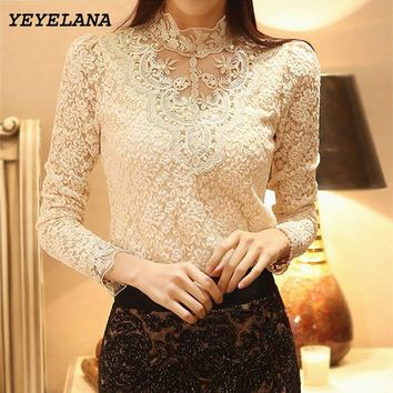 YEYELA Women Blouses Shirts 2017 New Spring Crochet Lace Chiffon Blouse Shirt Vintage Blusas Femininas Shirt Women Clothing A010