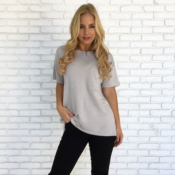 Every Little Thing Fleece Tee in Light Grey