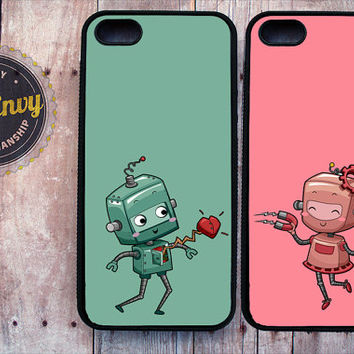 2 Cases With Robots Drawn To Each Other iPhone 5 / 5s case