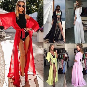 Long Women Chiffon Beach Cardigan Bikini Cover Up Wrap Beachwear Pure Color Red White Black Loose Lace Up Bathing Suit