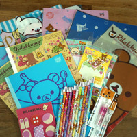 San-X Rilakkuma Bear and Sanrio Hello Kitty 10 of Assorted Cute Kawaii Stationery Sets. Pencil,Pen,Eraser,Notebook,Sticker