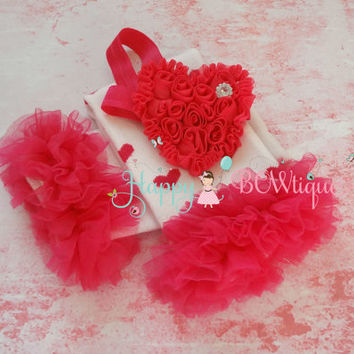 Hot Pink Hearts Ruffle leg warmers set, Leg Warmers and headband set, Valentines set, girls leg warmers, baby leg warmers, Valentine