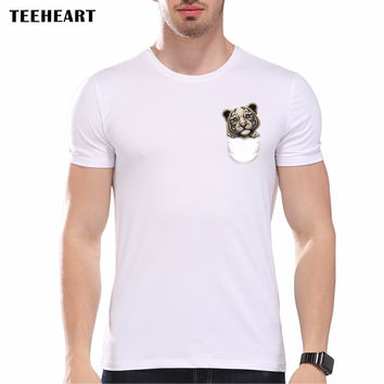 New Pocket Dolphin Little Tiger Printed Men's Cool Animal T shirt Men Summer Hipster Graphics Tees