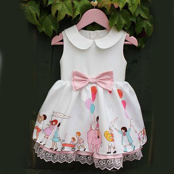 USA Newborn Kids Baby Girl Sleeveless Lace Bowknot Party Pageant Dress Clothes