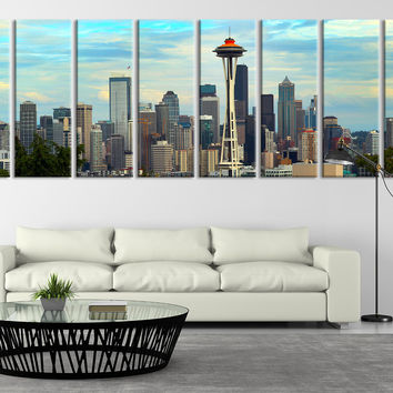 Extra Large Seattle Skyline Panorama Canvas Print, Seattle Canvas Print, Extra Large Seattle City Skyline Wall Art Print