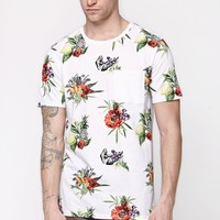 On The Byas Fruity Palms Crew T-Shirt - Mens Tee - White