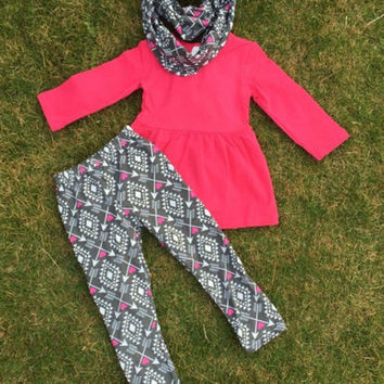 Girls Valentine Outfit 3pc Scarf Boutique Outfit Raspberry Arrow Love Valentines Outfit Valentine Scarf Girls Scarf Heart Scarf