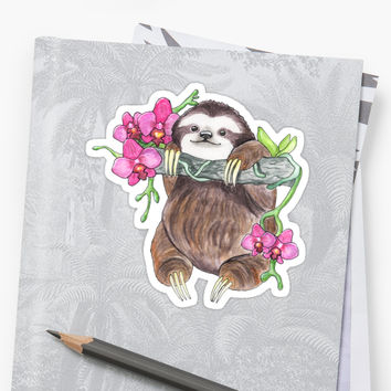 'Happy Sloth with orchids' Sticker by BeeHappyShop