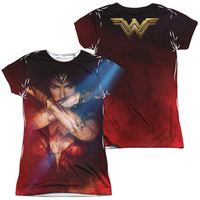 Wonder Woman Movie Arms Crossed Sublimated Juniors T-Shirt