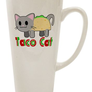 Cute Taco Cat Design Text 16 Ounce Conical Latte Coffee Mug by TooLoud