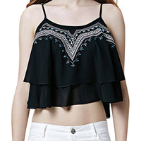 Black Double Layer Embroidered Cami Top