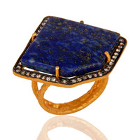Lapis Lazuli Sterling Silver Split Shank Ring - Yellow Gold Plated