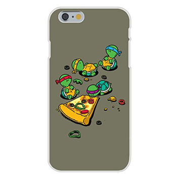 Apple iPhone 6 Custom Case White Plastic Snap On - 'Pizza Lover' TV Movie Turtles Eating Pizza