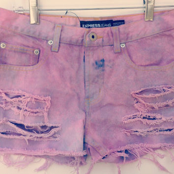 Dip Dyed Denim Shorts Mid Waisted Tie Dye Jean by shortyshorts