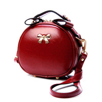 Casual Simple Women shoulder bag Solid Bow Rivet Zipper Box shaped