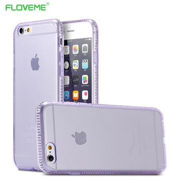 """FLOVEME Fashion Diamond Frame Case For iPhone 6 6s 4.7"""" / 6 6s plus 5.5"""" Ultra Thin Slim Back Protect  Women Girl Colorful Cover"""